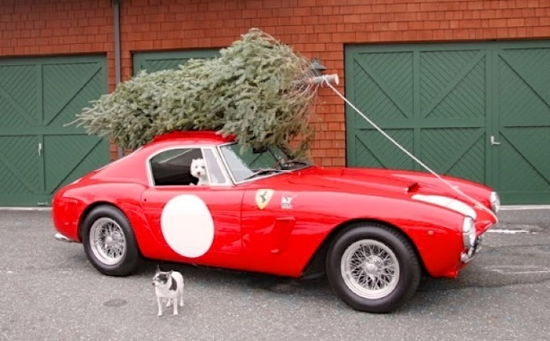 Sports cars make some unconventional christmas tree for Ferrari christmas
