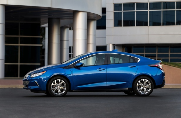 Blue 2018 Chevrolet Volt side view