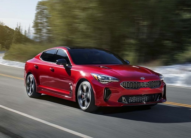 2018 kia stinger gt red driving