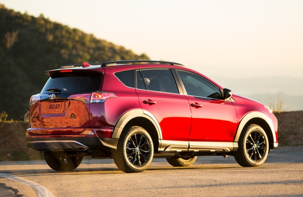 2018 toyota RAV4 in red during a sunset