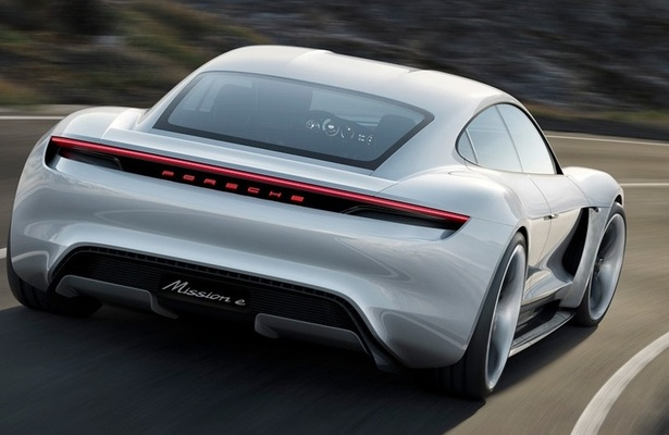 Porsche Mission E from the rear
