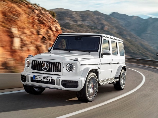 2019 Mercedes-AMG G63 white front 34 driving