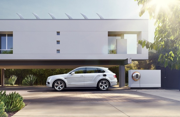 Bentley Bentayga Hybrid side view plugged in