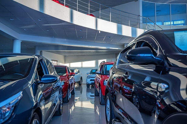 Cars in rows in dealership