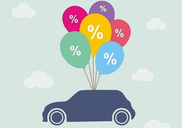 interest rate balloons tied to car