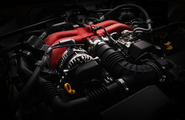 2018 Subaru BRZ engine painted red