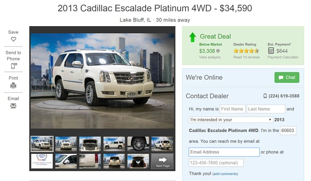 internet car price ad cadillac escalade