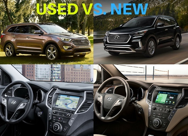 new vs used hyundai santa fe exterior and interior