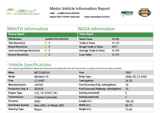 vehicle history report sample