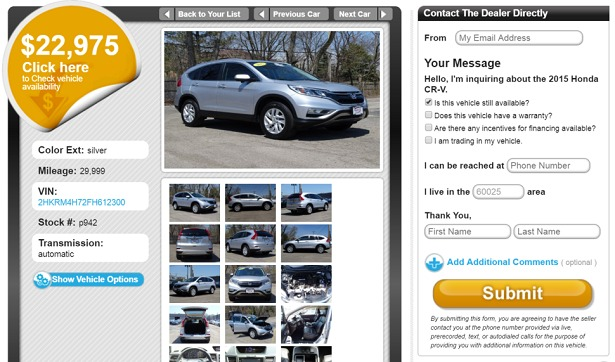 web2carz honda cr-v quote screenshot