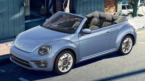 vw beetle final edition cabrio blue top down
