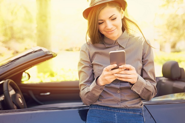 woman with car subscription app