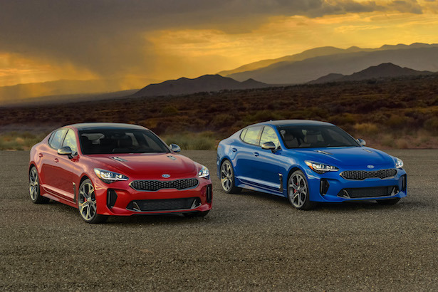 kia stinger gt red blue