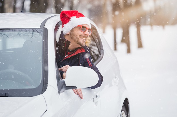 Secret Santa Man in Car