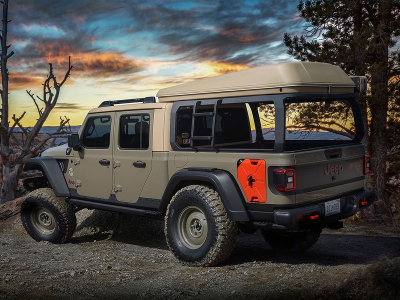 How do you improve a Jeep Gladiator? Just add a rooftop tent.   (images: FCA/Jeep)
