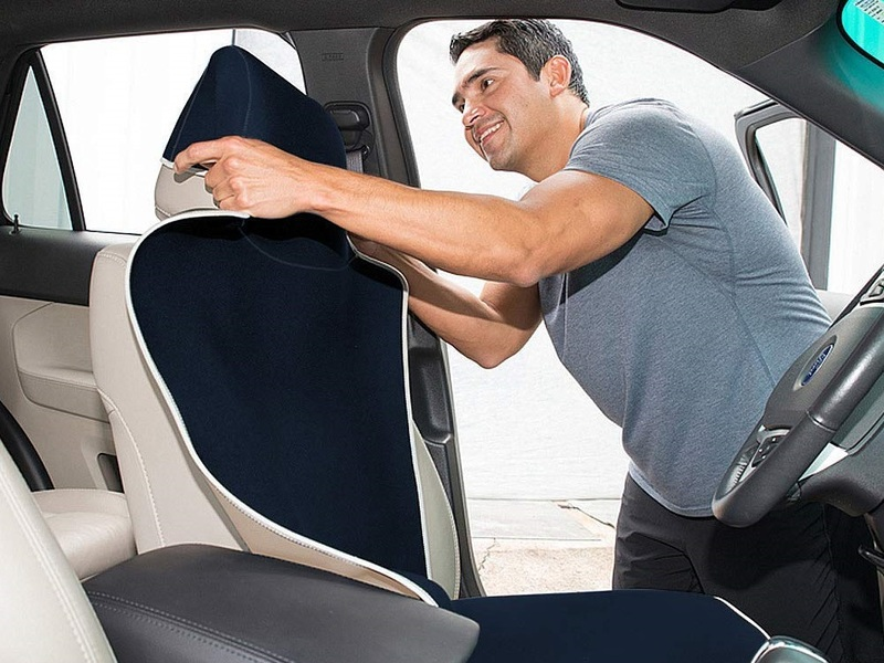 Slip on a car seat cover to keep your interior looking (and smelling) brand new.