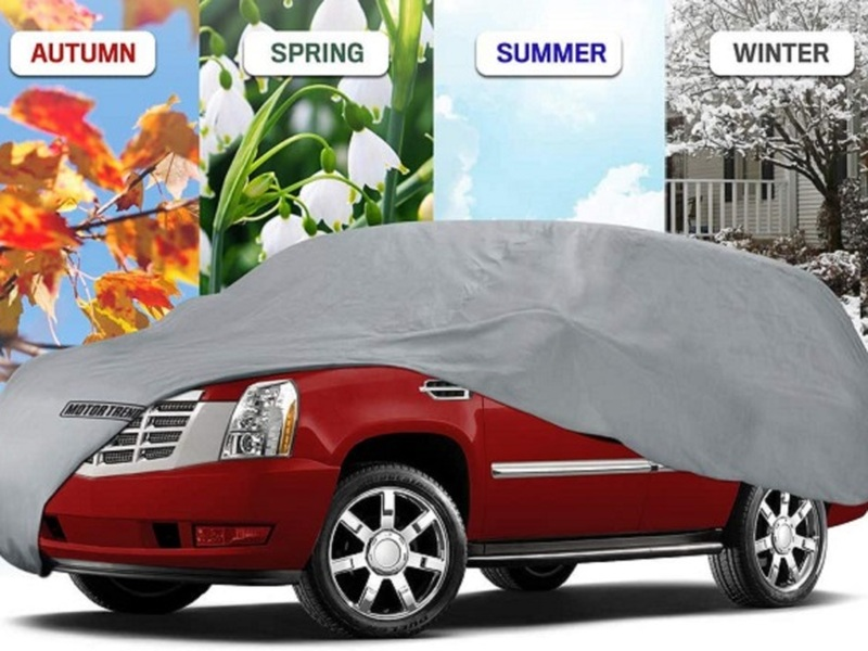 A durable car cover keeps your vehicle safe year round.
