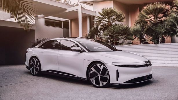 lucid air white front 34