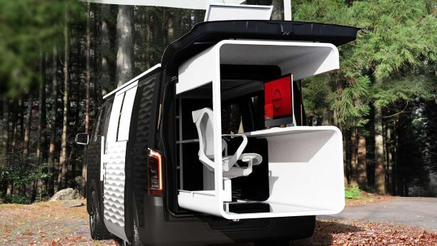 nissan office pod camping